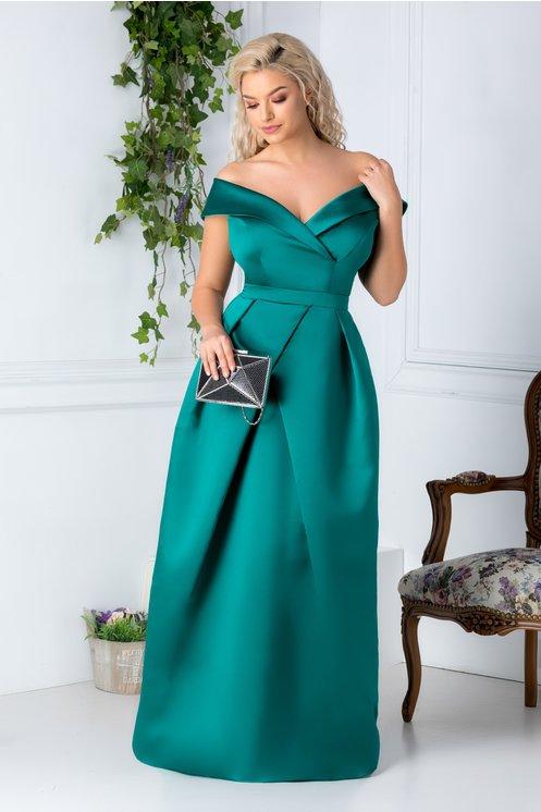 Rochie lunga verde de seara  Decolteu petrecut cu bretele lasate usor pe umeri  Pliuri in talie