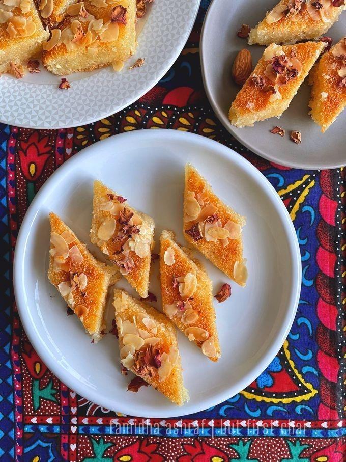 Namoura or Basbousa | Middle Eastern Semolina Cake