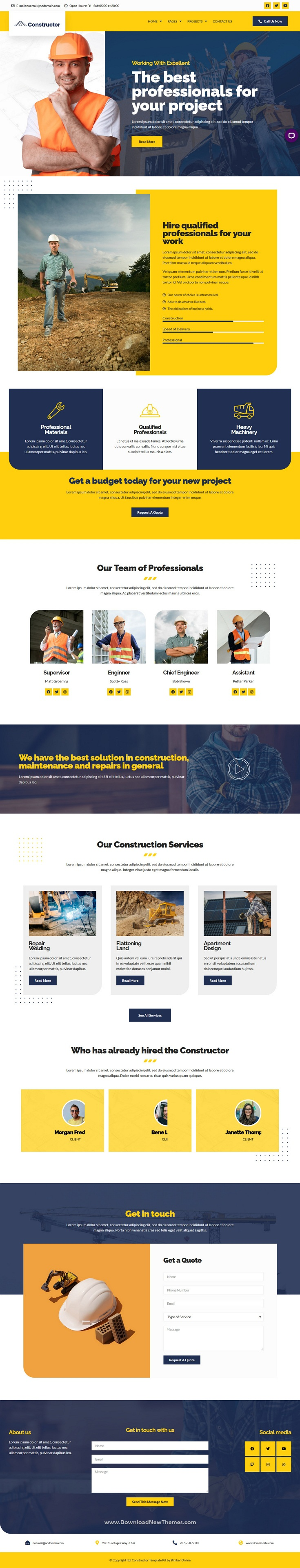 Construction and Repair Elementor Template Kit
