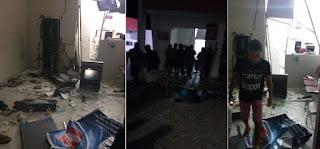 Bandidos causam terror nesta madrugada e explodem caixa do Bradesco de Jaçanã/RN