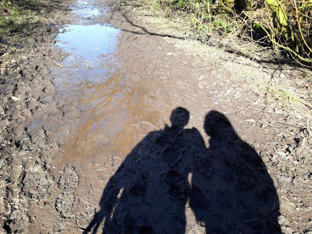 Image shows the shadows of two people against a very muddy path!