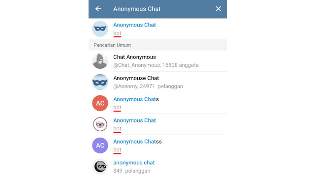 Cari chat anonymous chat Telegram