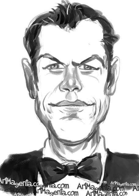 Matt Damon caricature cartoon. Portrait drawing by caricaturist Artmagenta.