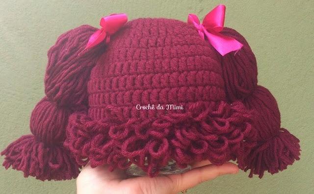 8989cca79740c As Receitas de Crochê  Touca boneca em crochê ou peruca em crochê