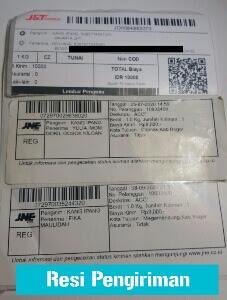 bukti kertas resi pengiriman