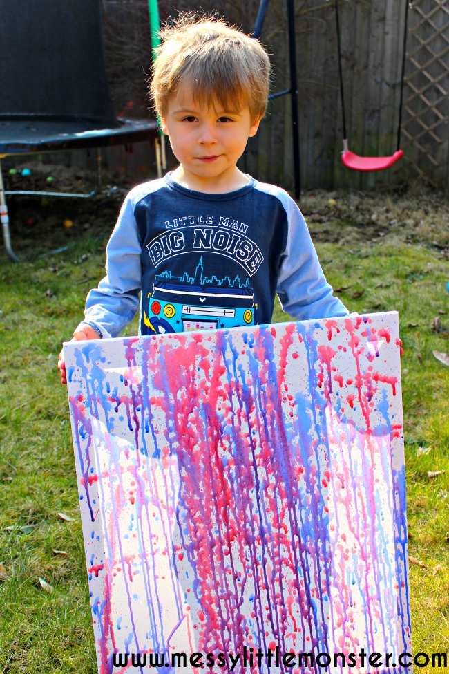 Water pistol (squirt gun) painting is a fun outdoor painting technique for kids. This art activity is perfect for the Summer and suitable for preschoolers upwards. Kids canvas art inspired by the famous artist Jackson Polluck.