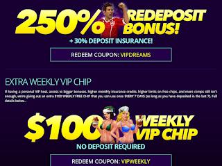 DREAMS Casino VIP reload bonus and a $100 Free Weekly Chip