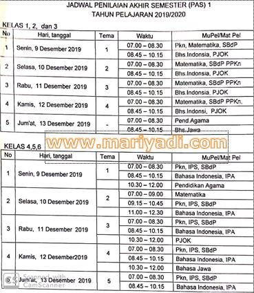Jadwal PAS Ganjil www.mariyadi.com