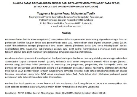 Analisa Batas Daerah Aliran Sungai Dari Data Aster GDEM Terhadap Data BPDAS [PAPER]