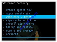 wipe data / reset - cwm recovery