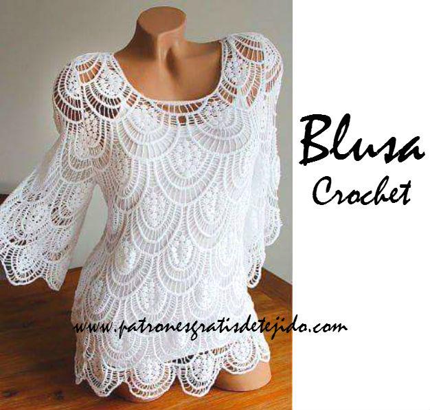 Blusa de Encaje a Crochet / Paso a paso con video | Crochet y Dos ...