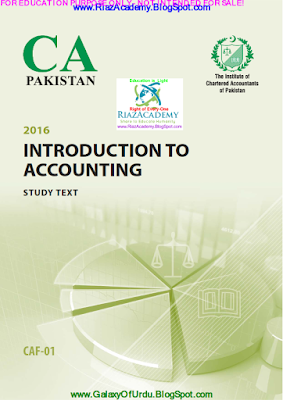 CAF-01 - INTRODUCTION TO ACCOUNTING 2016 - STUDY TEXT