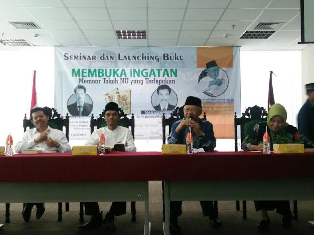 """Membuka Ingatan: Memoar Tokoh NU yang Terlupakan"""", di Universitas Islam Negeri Sunan Ampel (UINSA) Surabaya, Selasa (11/4/2017)."""