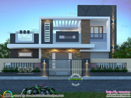 Grand contemporary house rendering