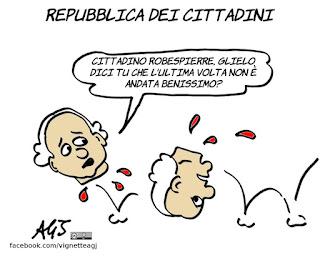 m5s, repubblica dei cittadini, terza repubblica, robespierre, politica, vignetta. satira