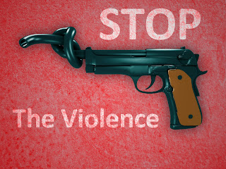 Guns with twisted and tied barrel with stop the violence sign.