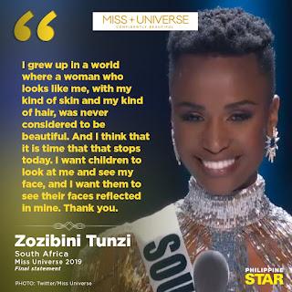 Miss Universe 2019, Zozinini Tunzi, South Africa,