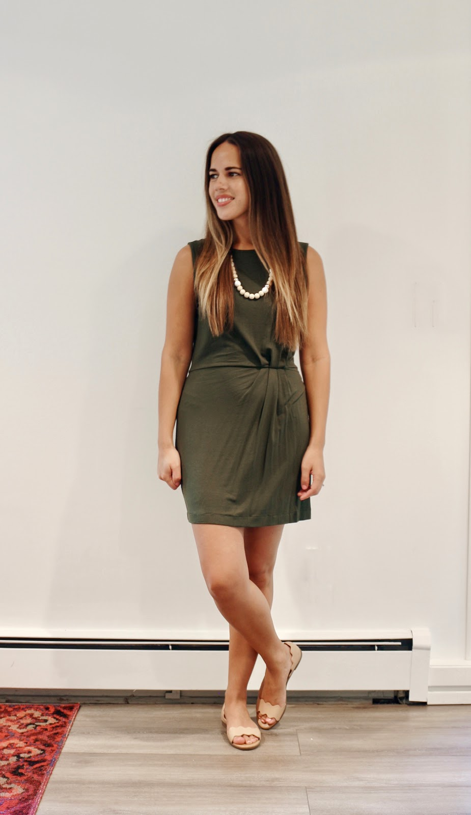 Jules in Flats -  Olive Green Jersey Dress (Business Casual Summer Workwear on a Budget)