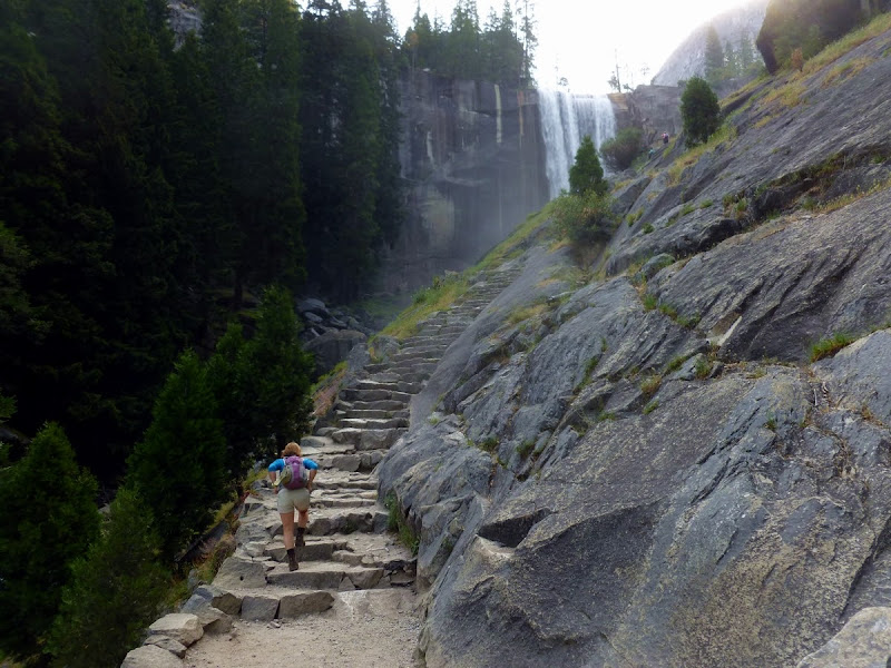 Hiking towards Vernal Falls on the Mist Trail, en route to Half Dome