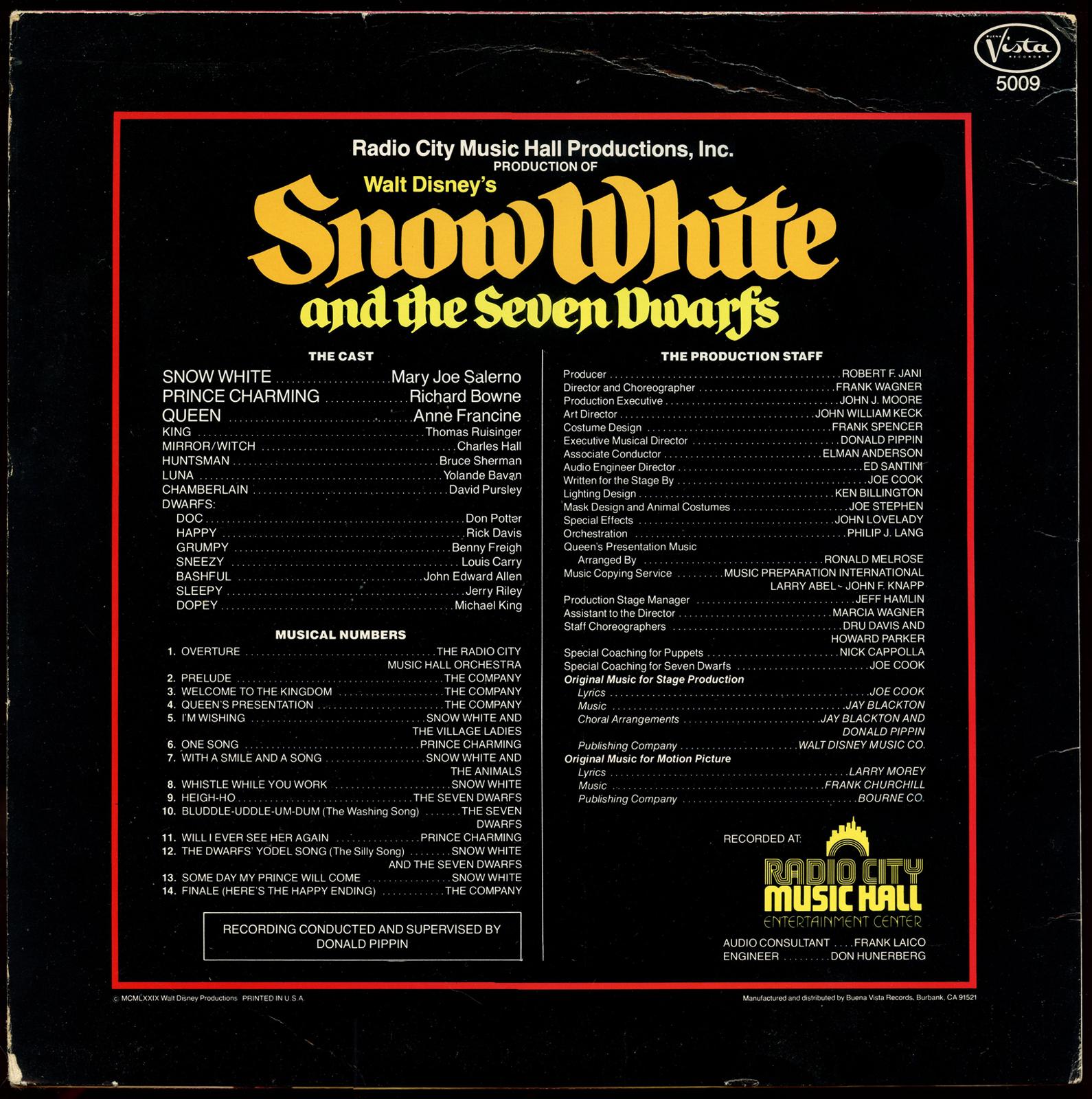 Filmic Light Snow White Archive 1979 Radio City Music