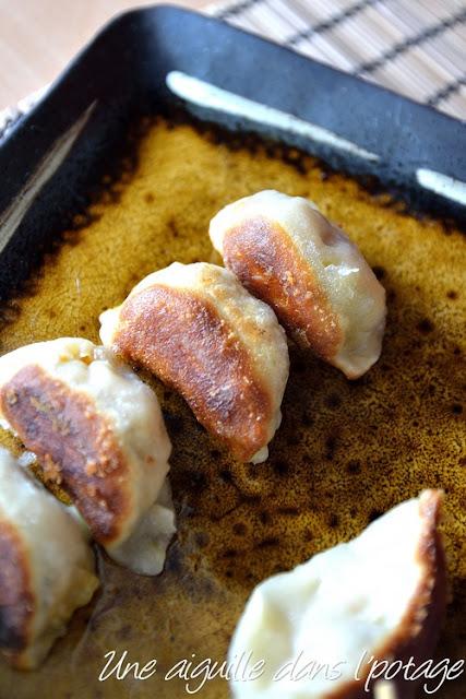 Guo tie au potiron et shiitatake 南瓜锅贴 cuisine chinoise