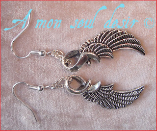 Boucles d'oreilles elfique angélique ange ailes plumes angel elven earrings