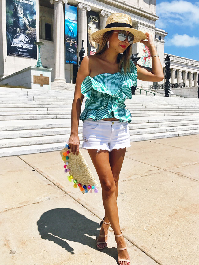 Green Ruffle One Shoulder Top, Style Steal Ruffle Top