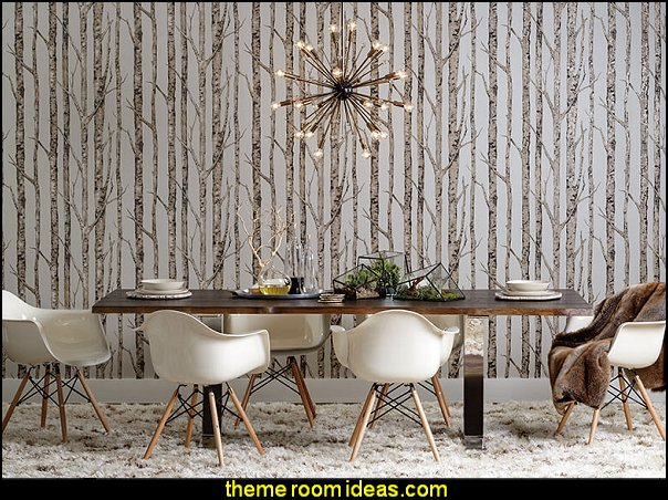 Toulouse Dining Table birch tree wall murals  Modern rustic decorating - Modern rustic decor - modern contemporary rustic style nature-inspired furniture - modern rustic baby bedrooms - wooden wall art - rustic modern baby nursery
