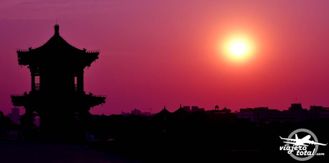 Atardeciendo sobre Xian, China