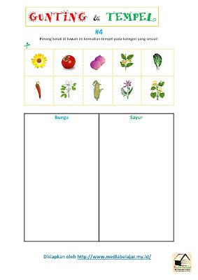 Gunting dan Tempelkan Gambar Sesuai Kategori Bunga Vs Sayur
