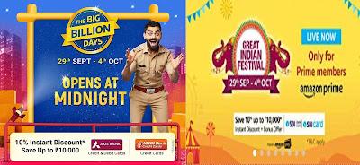 Flipkart Big Billion sale vs Amazon Great Indian Festival sale