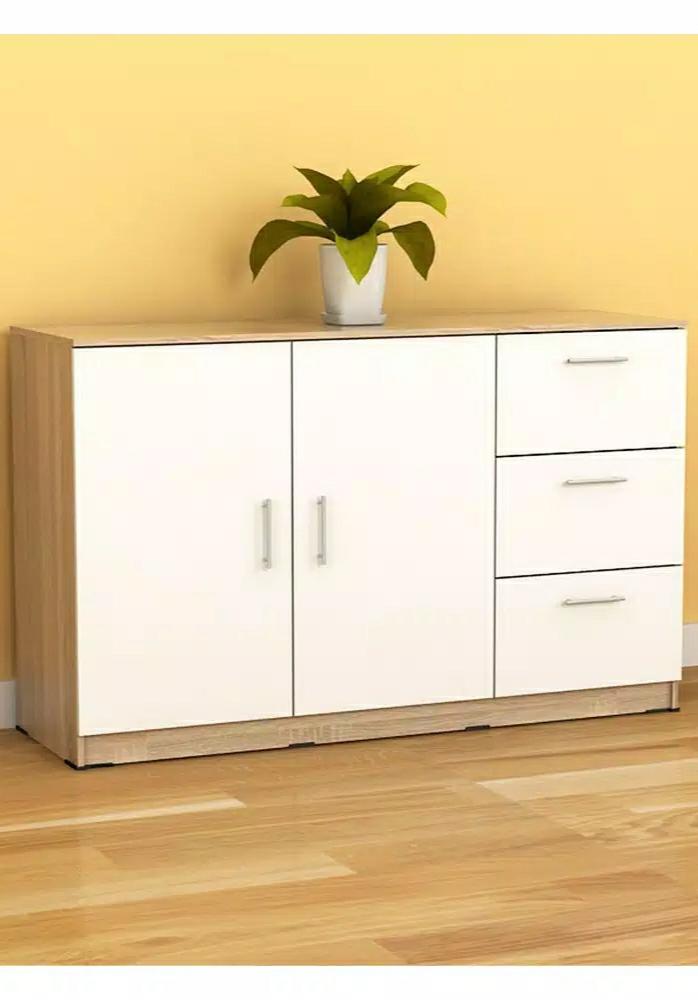 Bufet minimalis ruang tamu ukuran 120 cm warna kombinasi sonoma oak dan putih