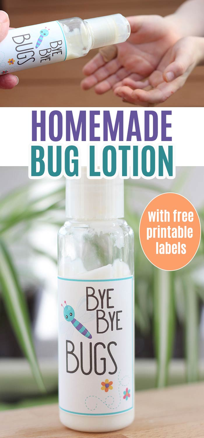 Easy homemade bug lotion for the whole family! This natural bug lotion is made with kid safe essential oils and is simple to make with only 2 ingredients. And it comes with FREE printable bottle labels! You'll want to have this bug lotion on hand for the spring and summer to keep insects from bugging your family. Makes a great gift too! #essentialoils #DIY #homemade #printable
