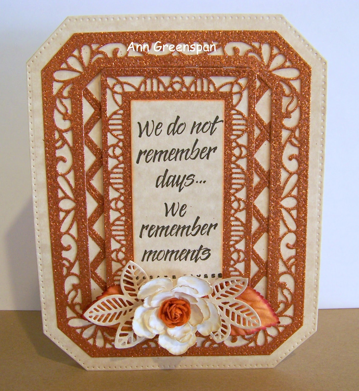 Dies R Us Glittery Ornate Pierced Rectangle Card By Ann