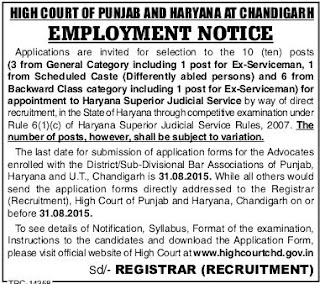 Applications are invited for 10 Posts in Haryana Superior Judicial Services