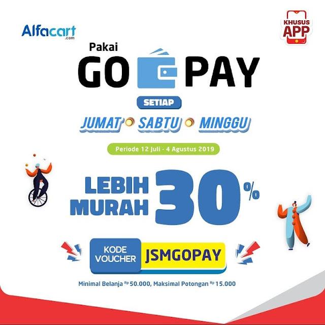 #Alfacart - #Promo JSM Murah 30% Bayar Pakai GOPAY (s.d 04 Agus 2019)