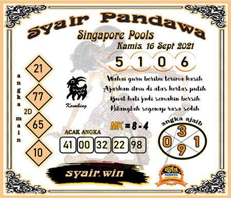 Syair Pandawa SGP Kamis 16 September 2021