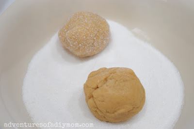 cookie dough balls rolled in sugar