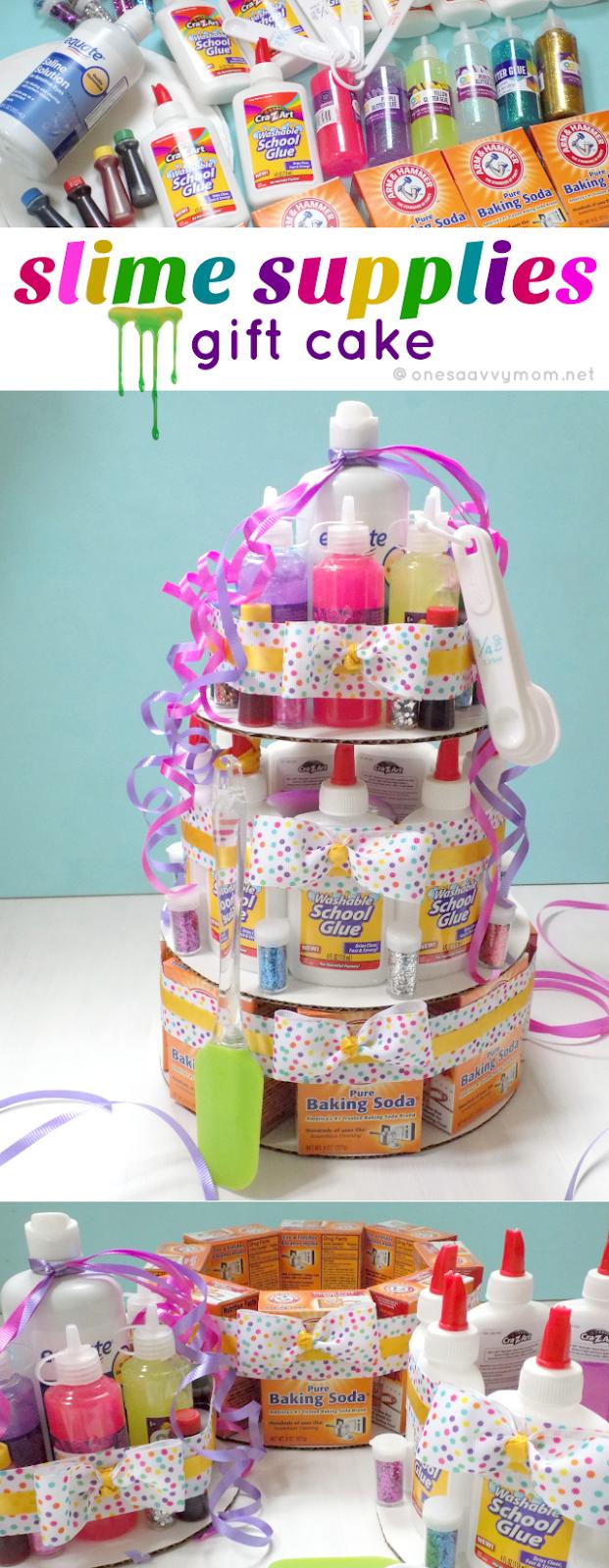 One Savvy Mom ™   NYC Area Mom Blog: Slime Supplies Gift Cake