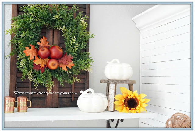 cottage farmhouse style fall decor-apple wreath-From My Front Porch To Yours