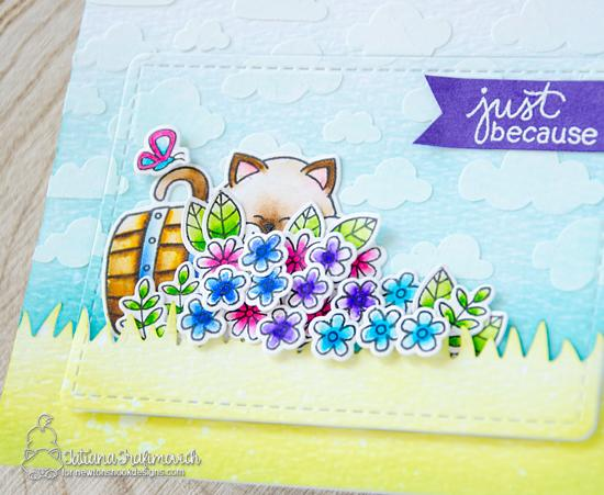 Just Because Spring Kitty and Flowers Card by Tatiana Trafimovich | Autumn Newton Stamp Set and various other Stamps and Dies by Newton's Nook Designs #newtonsnook #handmade