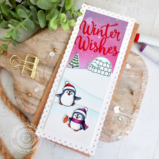 Sunny Studio Stamps: Slimline Dies Penguin Pals Winter Scenes Winter Card by Christy Reuling