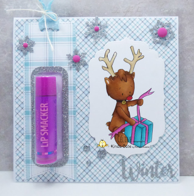 lip balm card using reindeer with present digital stamp