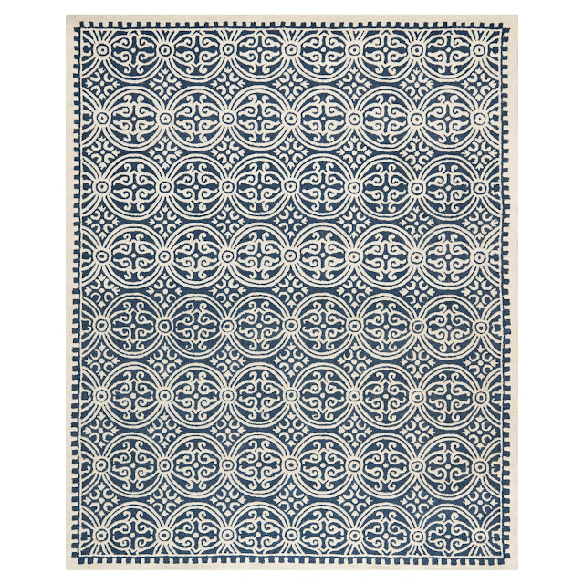 I love farmhouse style, the color blue, and cushy rugs! Here are ten of my favorite blue rugs. All of them perfect for creating that farmhouse style! geometric textured