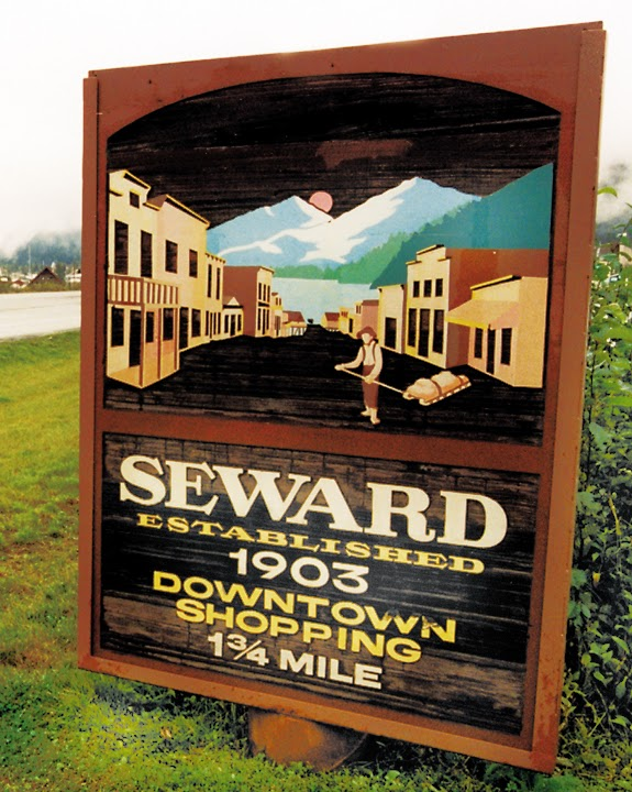 Sign welcoming travelers to Seward.