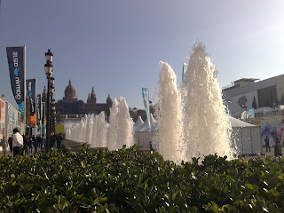Image shows fountains at La Fira Montjuic in Barcelona. The photo is taken the week of Mobile World Congress, the largest telecoms show in the world.