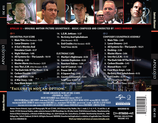 intrada apollo 13 track listing
