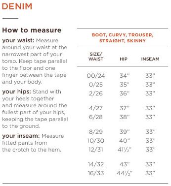 Banana Republic Size Charts