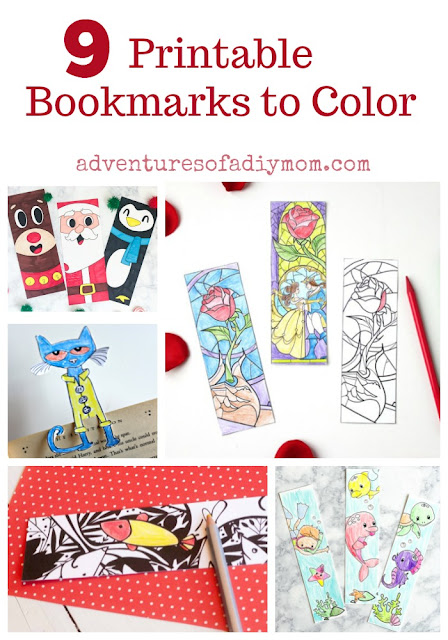 9 Printable Bookmarks to Color