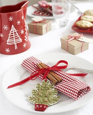 idéias de guardanapos para a mesa de Natal